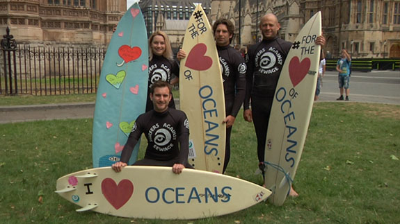 Surfers Against Sewage at The Climate Coalition at Westminster Image: ELN