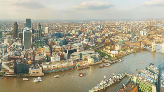 Aerial view of London. Image: Thinkstock