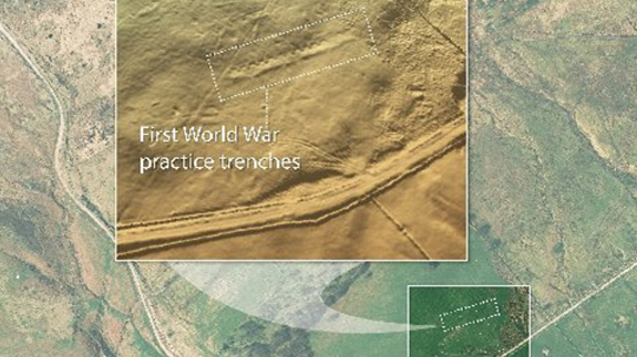 What appears to be First World War practice trenches discovered by Coal Authority. Image: Bluesky / UKCA