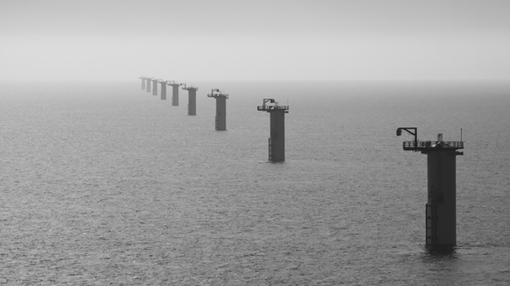 Example of an offshore wind farm's foundations
