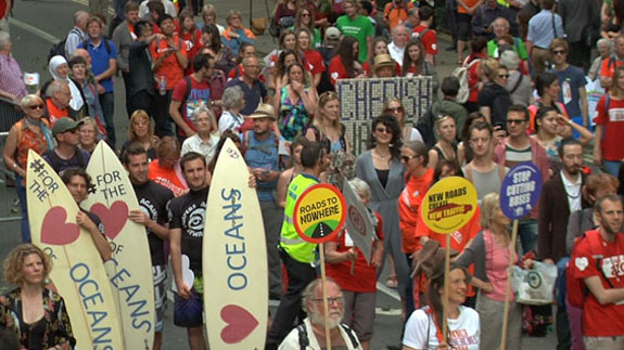 The Climate Coalition rally yesterday. Image: ELN